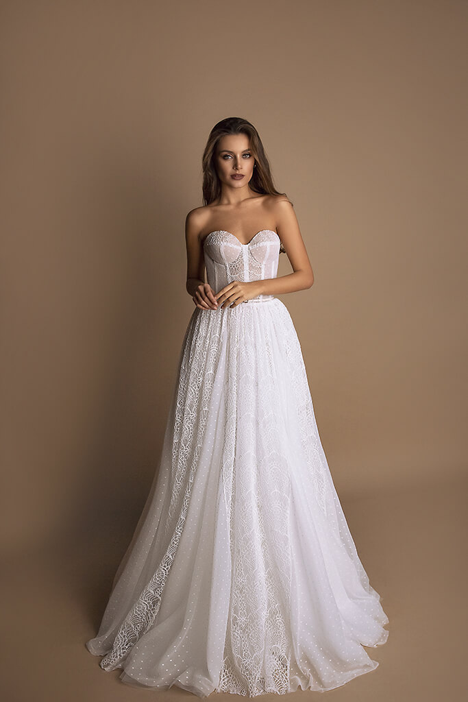 Wedding dresses Beatrice Collection  New Look  Silhouette  A Line  Color  Ivory  Neckline  Sweetheart  Sleeves  Sleeveless  Train  No train