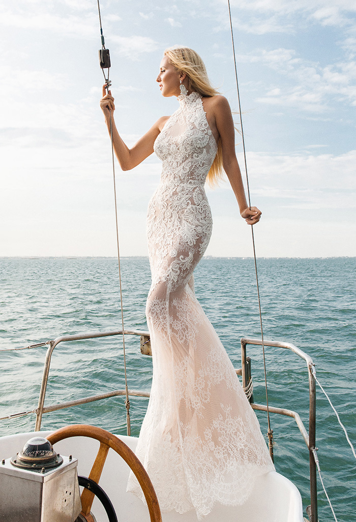 Wedding dresses Caprice Collection  Voyage  Silhouette  Fitted  Color  Ivory  Neckline  Halter  Sleeves  Sleeveless  Train  With train