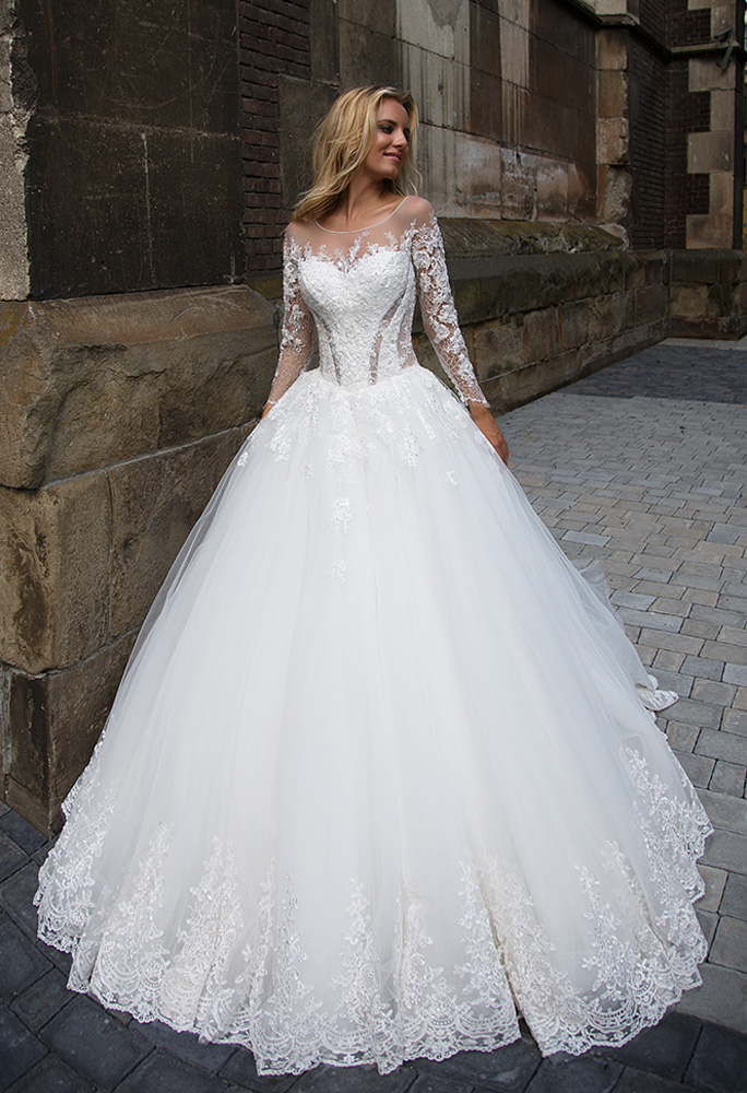 Wedding dresses Cataleya 1 Collection  Iconic Look  Silhouette  Ball Gown  Color  Ivory  Neckline  Sweetheart  Jewel  Illusion  Sleeves  Long Sleeves  Fitted  Train  With train