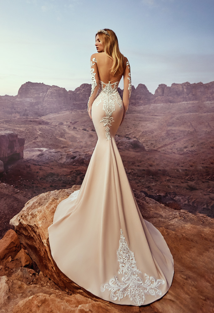 Wedding dresses Deya Collection  Voyage  Silhouette  Fitted  Color  Nude  Ivory  Neckline  Sweetheart  Sleeves  Off the Shoulder Sleeves  Long Sleeves  Fitted  Train  With train