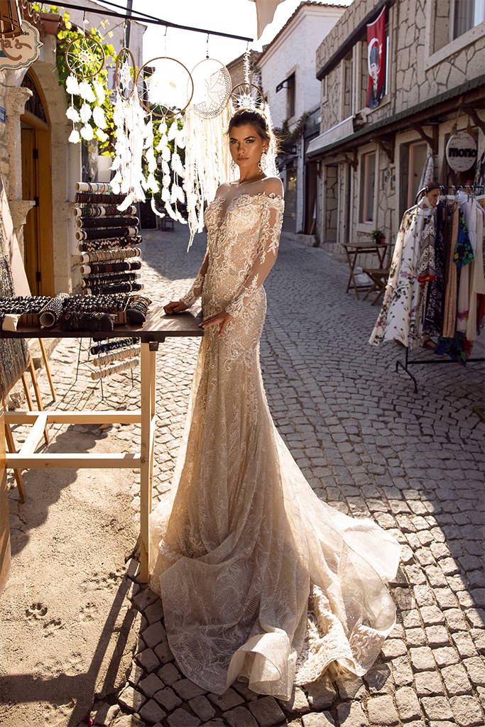 Wedding dresses Dorian Collection  Highlighted Glamour  Silhouette  Fitted  Color  Gold  Ivory  Neckline  Illusion  Sleeves  Long Sleeves  Fitted  Train  No train