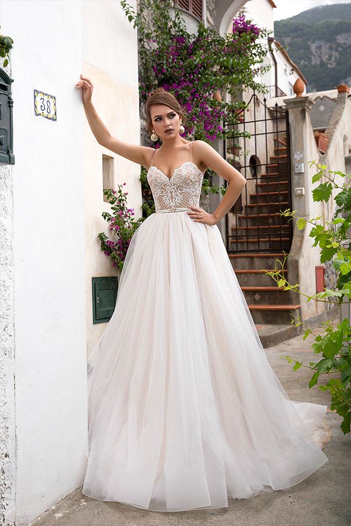 Wedding dresses Elma Collection  Dolce Italia  Silhouette  A Line  Color  Cappuccino  Ivory  Neckline  Sweetheart  Sleeves  Spaghetti Straps  Train  With train