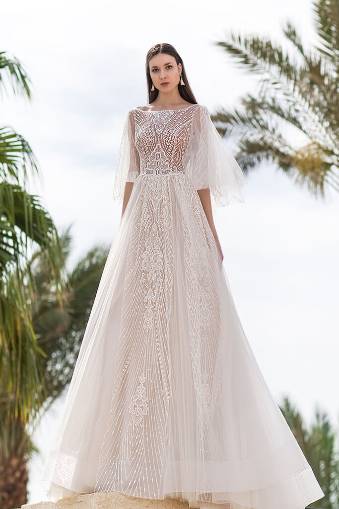 Wedding dresses Eos Collection  Fresh Touch  Silhouette  A Line  Color  Ivory  Neckline  Bateau (Boat Neck)  Sleeves  Detachable  Wide straps  Train  With train
