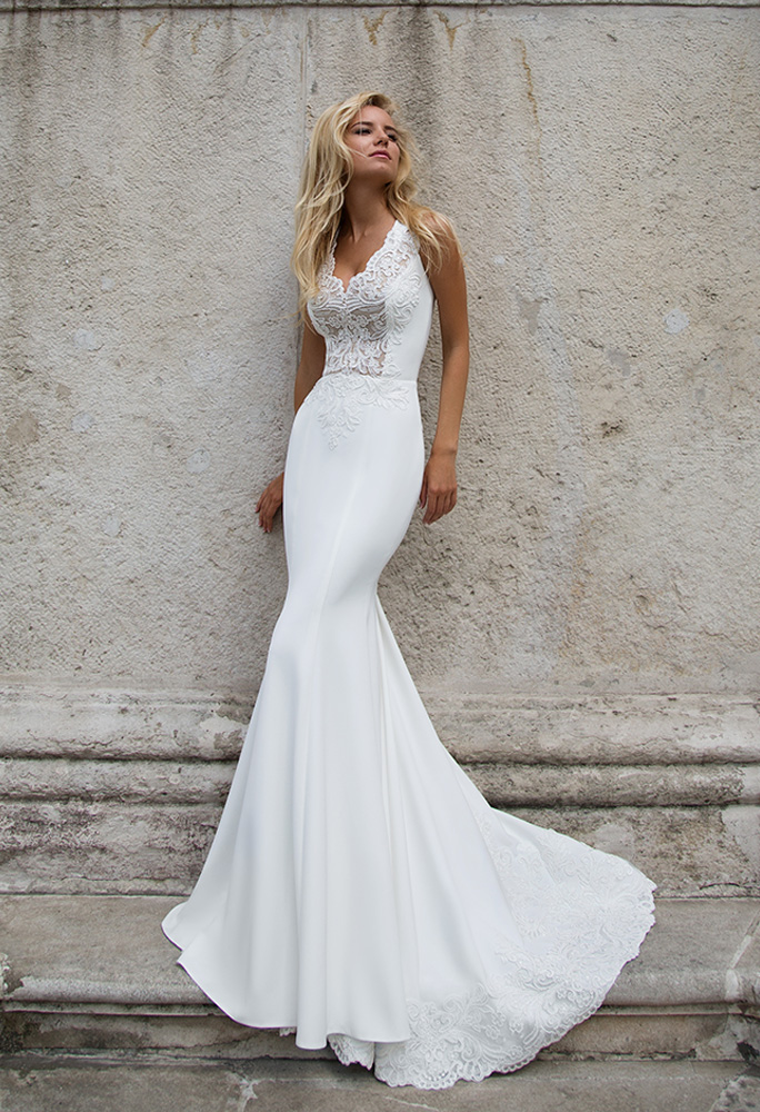 Wedding dresses Esme Collection  Supreme Classic  Silhouette  Fitted  Color  Ivory  Neckline  Portrait (V-neck)  Sleeves  Wide straps  Train  With train
