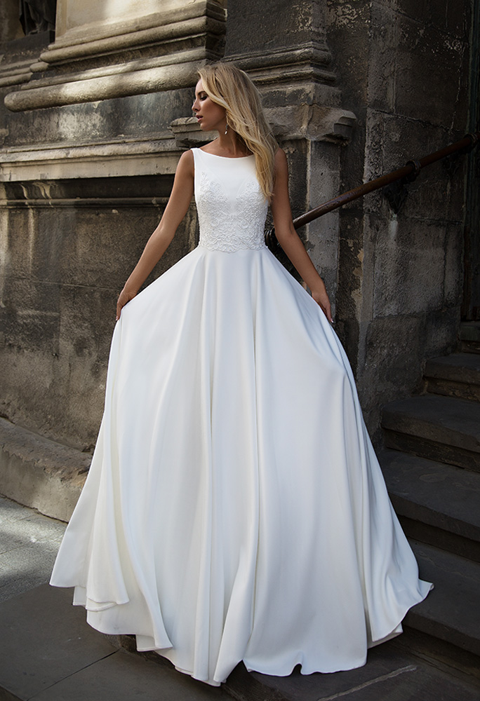 Wedding dresses Eve Collection  Supreme Classic  Silhouette  A Line  Color  Ivory  Neckline  Scoop  Sleeves  Wide straps  Train  No train