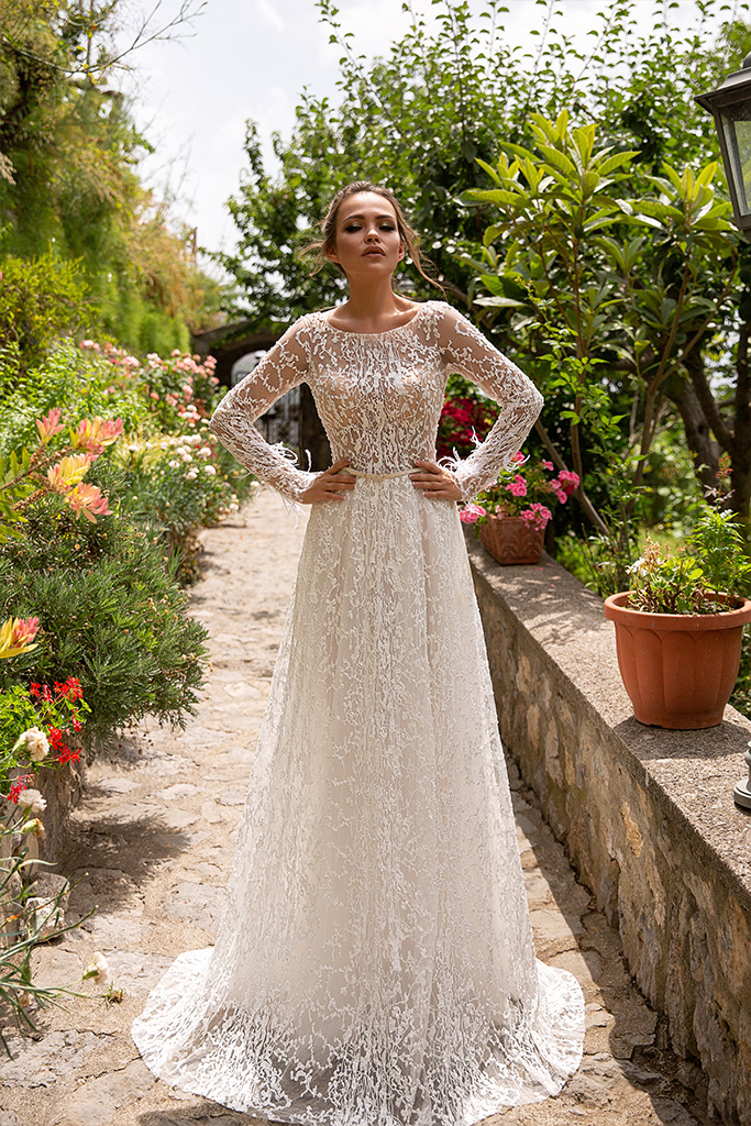 Wedding dresses Eveline Collection  Dolce Italia  Silhouette  Sheath  Color  Ivory  Neckline  Bateau (Boat Neck)  Sleeves  Long Sleeves  Fitted  Train  No train