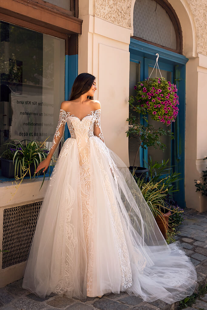 Wedding dresses Filis Collection  Dolce Italia  Silhouette  A Line  Color  Nude  Ivory  Neckline  Sweetheart  Sleeves  Off the Shoulder Sleeves  Train  Detachable train
