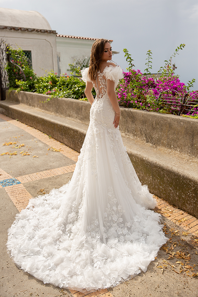 Wedding dresses Flamenko Collection  Dolce Italia  Silhouette  Fitted  Color  Ivory  Neckline  Sweetheart  Portrait (V-neck)  Illusion  Sleeves  Off the Shoulder Sleeves  Train  With train