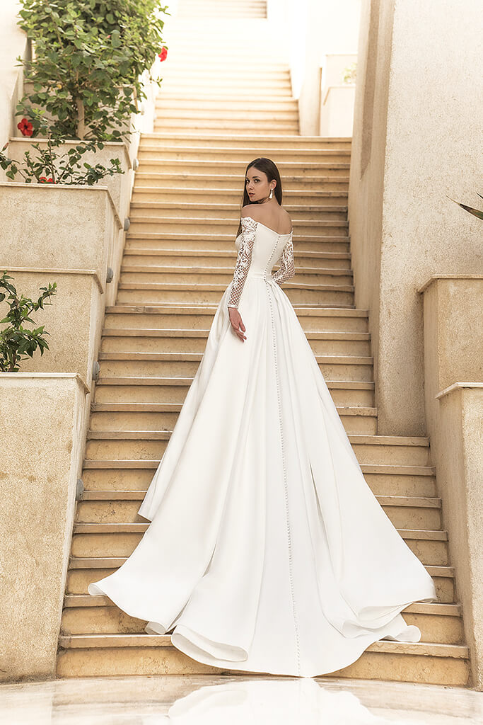 Wedding dresses Frederika Collection  Fresh Touch  Silhouette  A Line  Color  Ivory  Neckline  Straight  Sleeves  Off the Shoulder Sleeves  Long Sleeves  Fitted