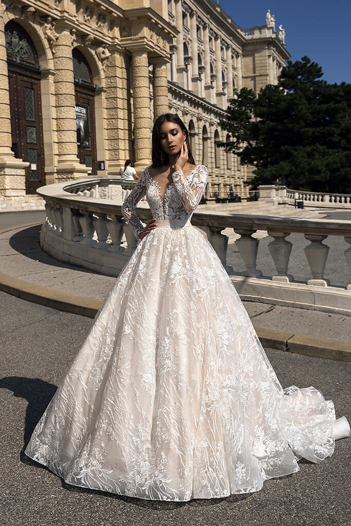 Wedding dresses Gwen Collection  Luxurious Spirit  Silhouette  A Line  Color  Cappuccino  Ivory  Neckline  Sweetheart  Sleeves  Long Sleeves  Fitted  Train  With train