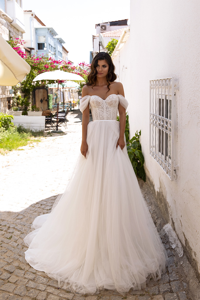 Wedding dresses Isabel Collection  Highlighted Glamour  Silhouette  A Line  Color  Ivory  Neckline  Sweetheart  Sleeves  Off the Shoulder Sleeves  Train  With train