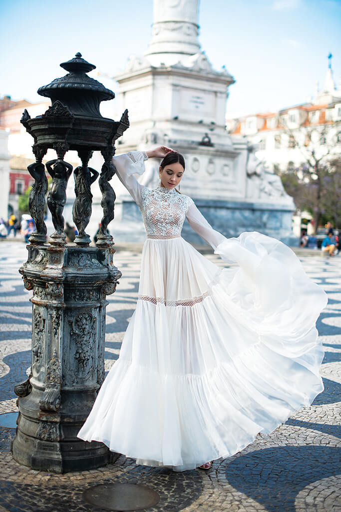 Wedding dresses Joyce Collection  Lisbon Lace  Silhouette  A Line  Color  Ivory  Neckline  Mandarin  Sleeves  Long Sleeves  Bishop  Train  No train