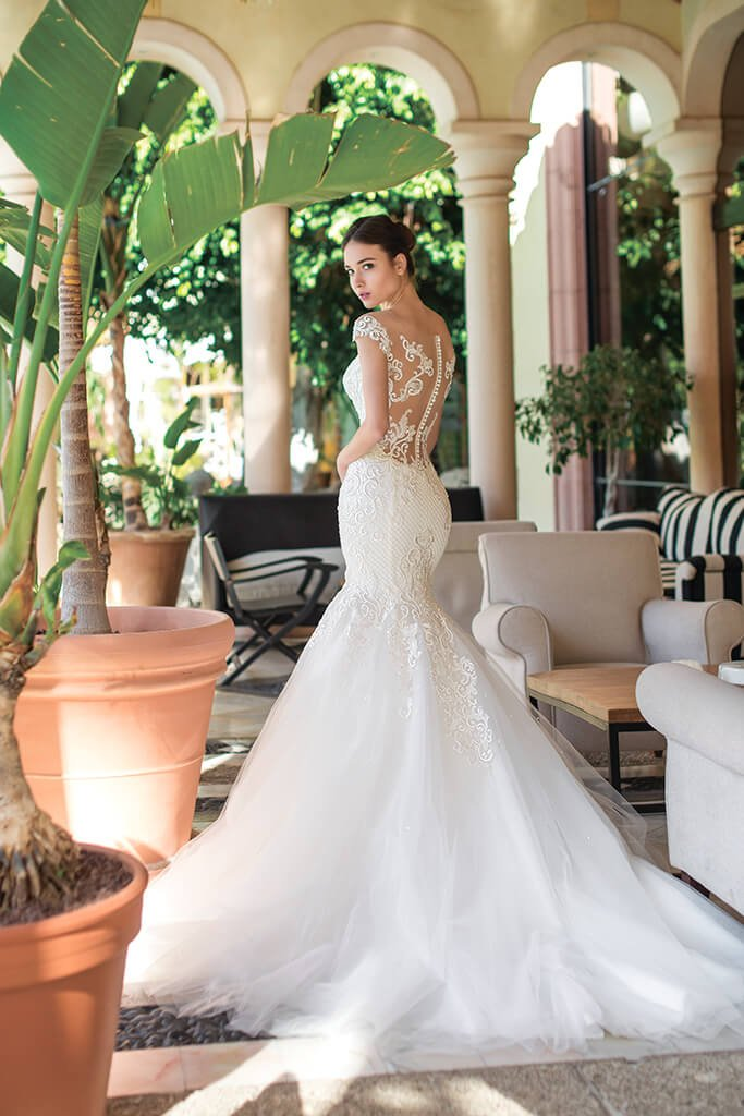 Wedding dresses Melisandra Collection  Fresh Touch  Silhouette  Mermaid  Color  Ivory  Neckline  Sweetheart  Sleeves  Off the Shoulder Sleeves  Train  With train