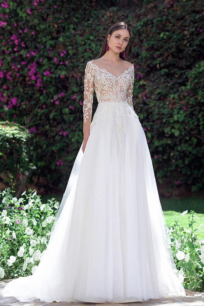 Wedding dresses Milada Collection  Fresh Touch  Silhouette  A Line  Color  Cappuccino  Ivory  Neckline  Portrait (V-neck)  Illusion  Sleeves  Long Sleeves  Fitted  Train  With train