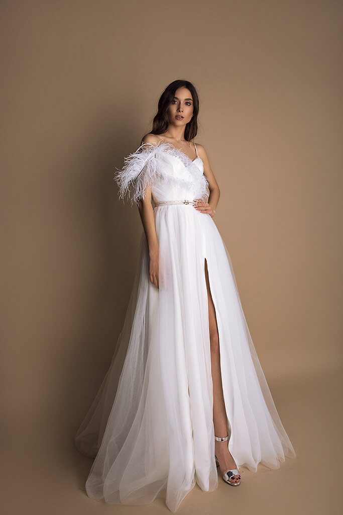 Wedding dresses Mirabell Collection  New Look  Silhouette  A Line  Color  Ivory  Neckline  Sweetheart  Sleeves  Spaghetti Straps  Train  No train