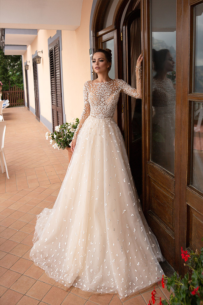 Wedding dresses Miryem Collection  Dolce Italia  Silhouette  A Line  Color  Cappuccino  Ivory  Neckline  Scoop  Sleeves  Long Sleeves  Fitted  Train  With train