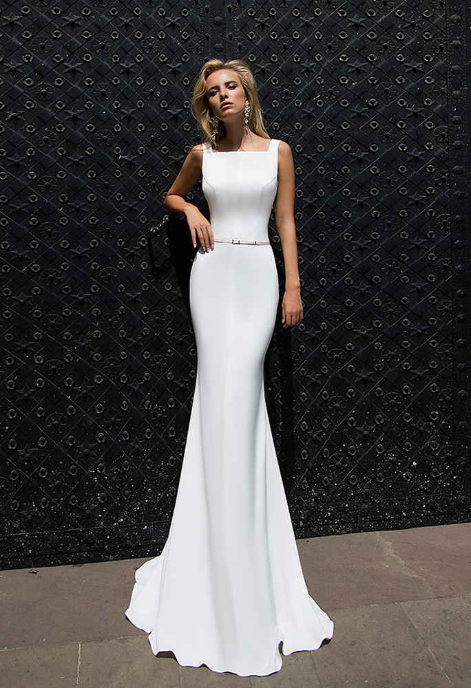 Wedding dresses Orli Collection  Supreme Classic  Silhouette  Fitted  Color  Ivory  Neckline  Straight  Sleeves  Wide straps  Train  With train