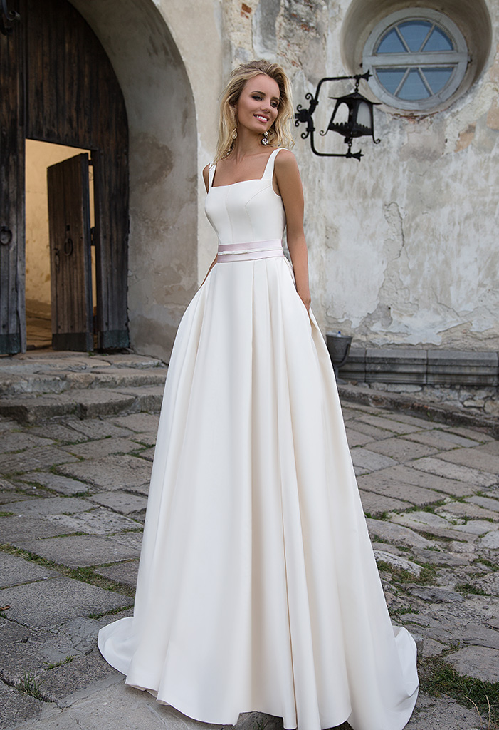 Wedding dresses Robin 1 Collection  Supreme Classic  Silhouette  A Line  Color  Cappuccino  Neckline  Straight  Sleeves  Wide straps  Train  With train