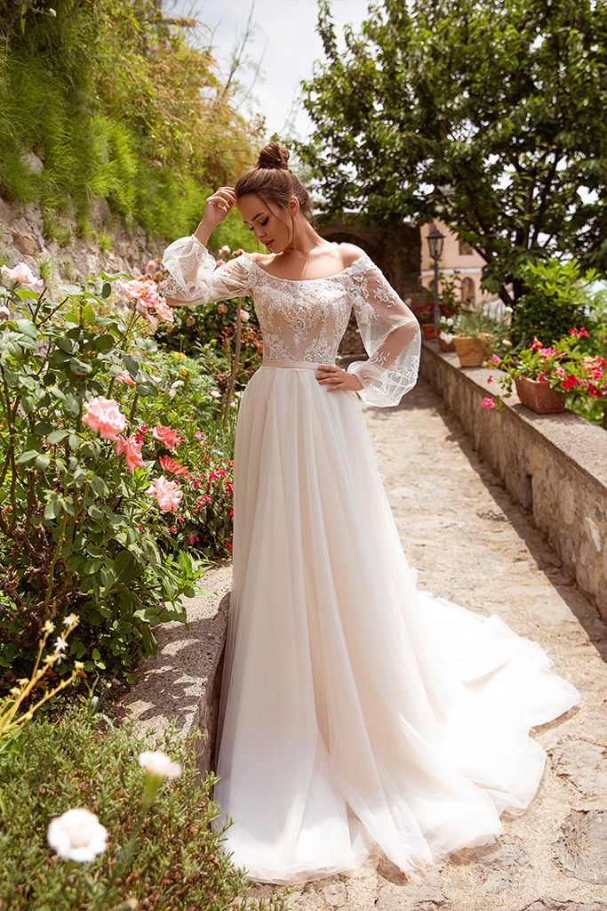 Wedding dresses Selena Collection  Dolce Italia  Silhouette  A Line  Color  Ivory  Neckline  Bateau (Boat Neck)  Sleeves  Off the Shoulder Sleeves  Long Sleeves  Balloon  Train  With train