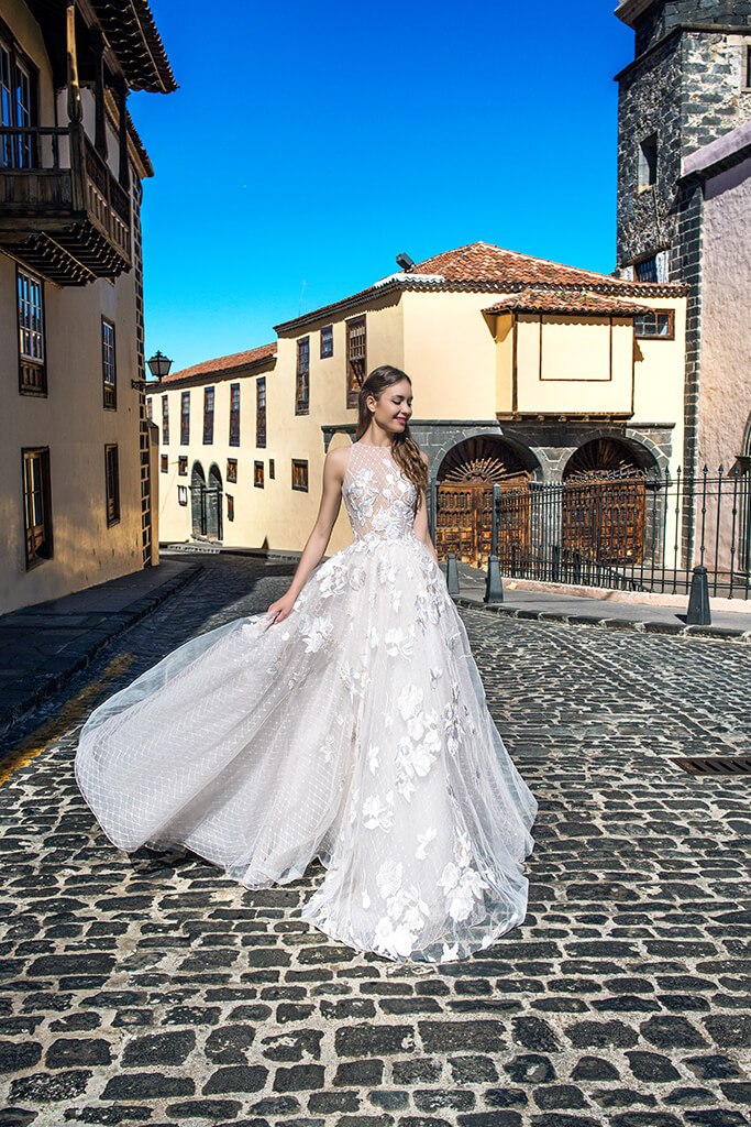 Wedding dresses Skyler Collection  Lisbon Lace  Silhouette  A Line  Color  Pink  Ivory  Neckline  Halter  Sleeves  Sleeveless  Train  With train