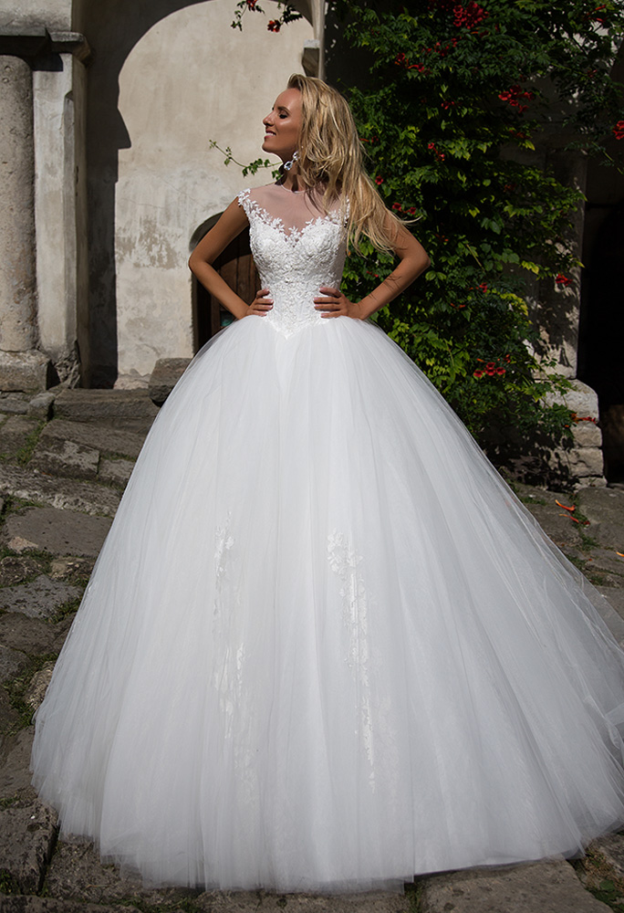 Wedding dresses Stella Collection  Iconic Look  Silhouette  Ball Gown  Color  Ivory  Neckline  Sweetheart  Illusion  Sleeves  Off the Shoulder Sleeves  Train  With train