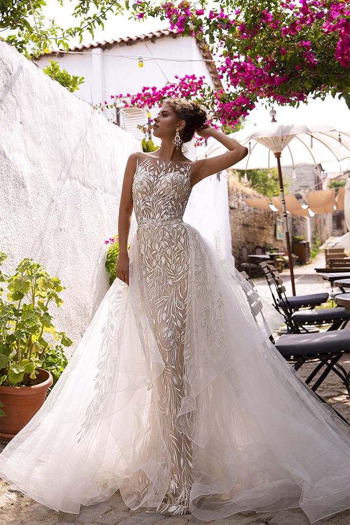 Wedding dresses Teresia Collection  Highlighted Glamour  Silhouette  Fitted  Color  Silver  Ivory  Neckline  Illusion  Sleeves  Sleeveless  Train  Detachable train