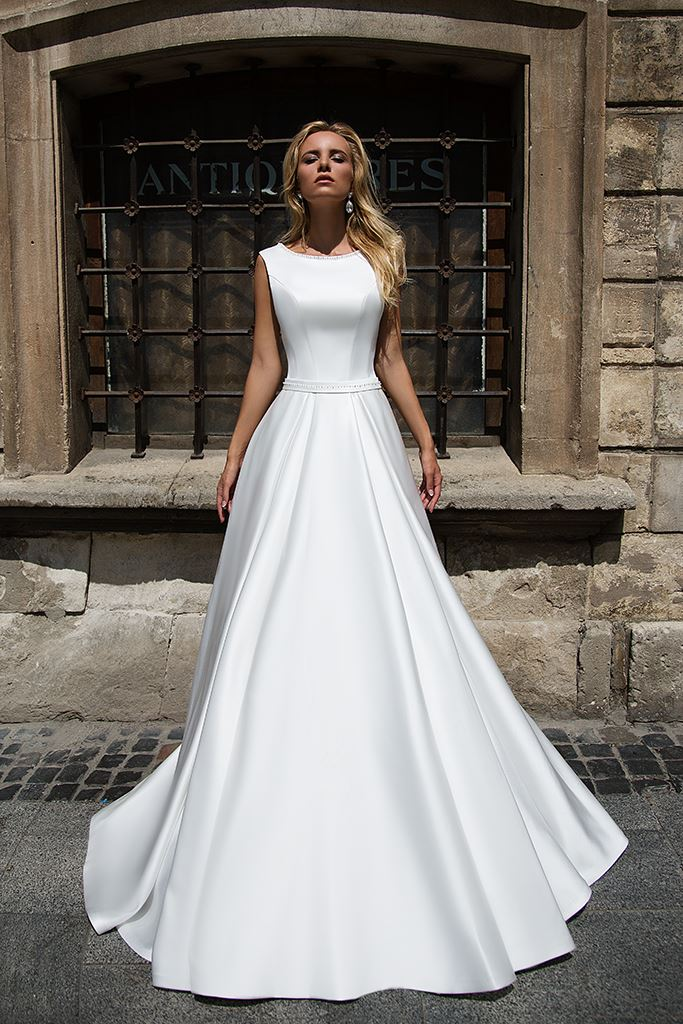 Wedding dresses Willow Collection  Supreme Classic  Silhouette  A Line  Color  Ivory  White  Neckline  Scoop  Sleeves  Wide straps  Train  With train