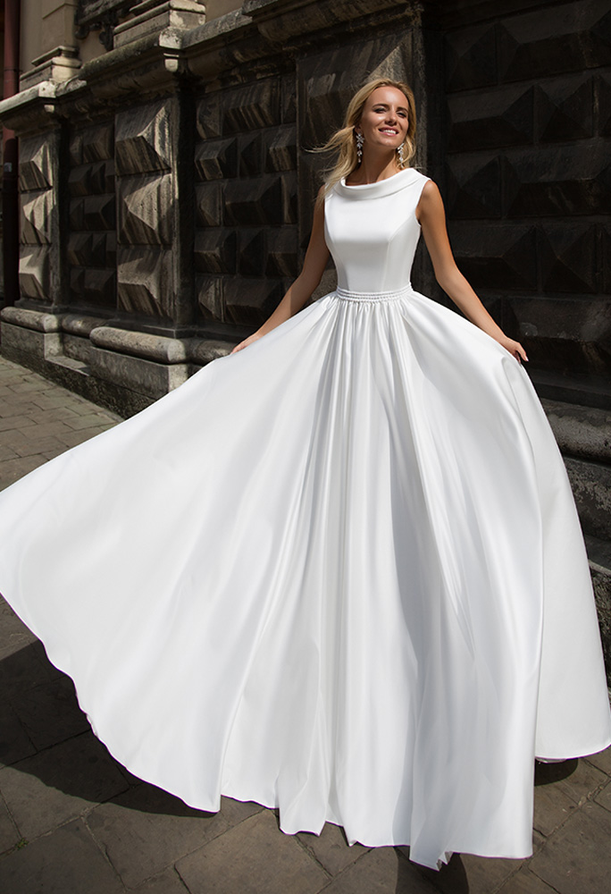 Wedding dresses Yvette Collection  Supreme Classic  Silhouette  A Line  Color  Ivory  White  Neckline  Bateau (Boat Neck)  Sleeves  Wide straps  Train  With train